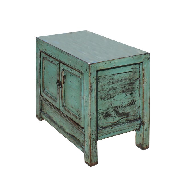 Oriental Distressed Aqua Green Lacquer Side End Table Nightstand For Sale - Image 4 of 8