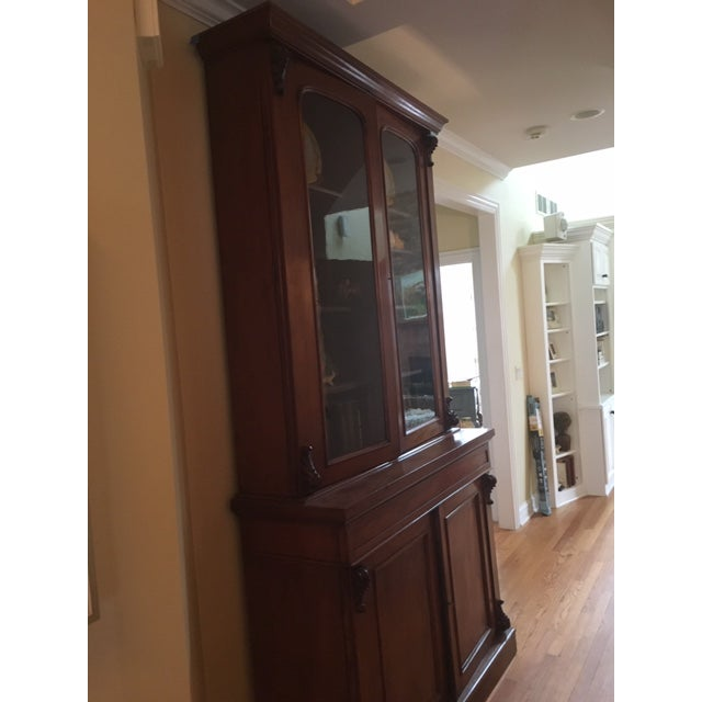 19th Century Traditional Mahogany Bookcase or China Cabinet For Sale - Image 4 of 11