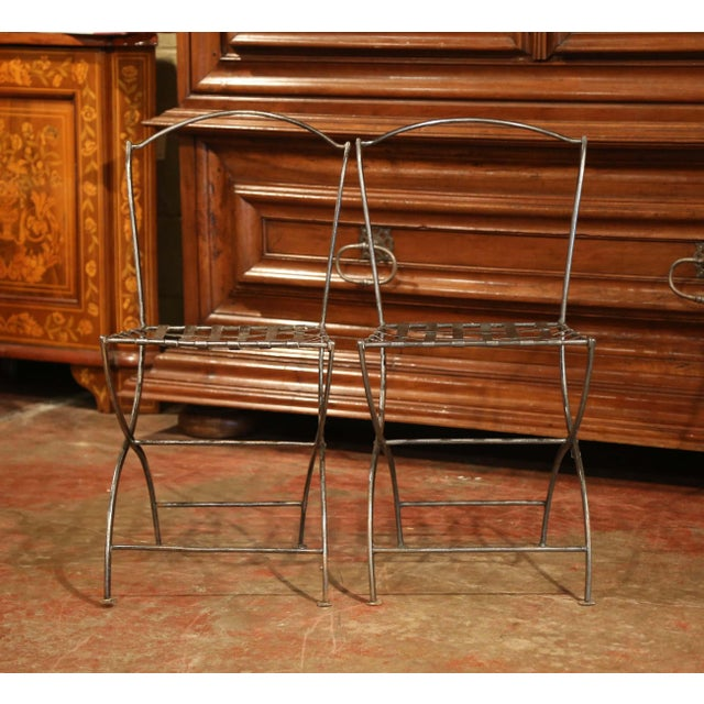 Silver 19th Century French Polished Iron Bistro Chairs From Paris - a Pair For Sale - Image 8 of 11