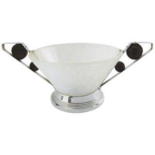 Crystal Factory Choisy-Le-Roi France Art Deco Glass Bowl Centerpiece For Sale