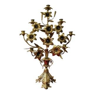 Antique French Brass 7-Arm Candelabra