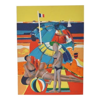 Rene Couturier a Day at the Beach Color Lithograph C.1977 For Sale