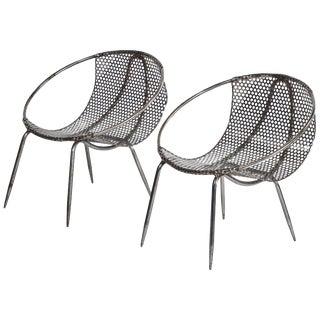 Modern Metal Tub Chairs - a Pair For Sale