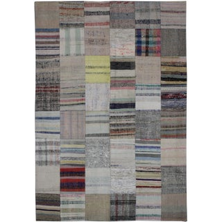 "Hand Knotted Patchwork Rug by Aara Rugs Inc. - 7'9"" X 5'7"" For Sale"
