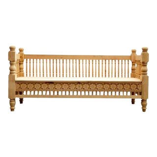 Anglo-Indian Natural Spindle Bench For Sale