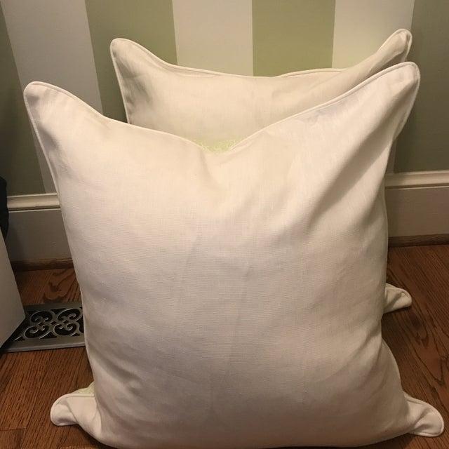 Quadrille Melong Celadon Linen Pillows - A Pair For Sale - Image 4 of 8