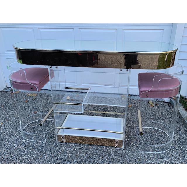 Vintage Charles Hollis Jones Lucite Bar and Stools For Sale - Image 10 of 10