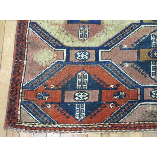 "Tribal Vintage Handmade Wool Turkish Anatolian Rug-4'3'x4'10"" For Sale - Image 3 of 10"