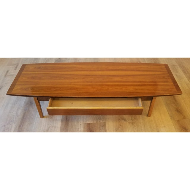 Stanley Furniture Stanley Teak Surfboard Coffee Table With Drawer For Sale - Image 4 of 8