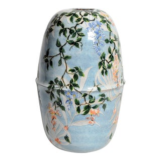 Asian Modern Hand Painted Ceramic Vase For Sale