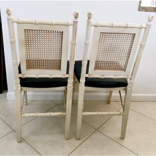 White 1960's Stackmore Faux Bamboo Cane Back Folding Chair- a Pair For Sale - Image 8 of 10