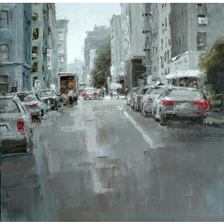 """Beckham Contemporary Architectural Painting """"Delivery Nyc"""" For Sale"""