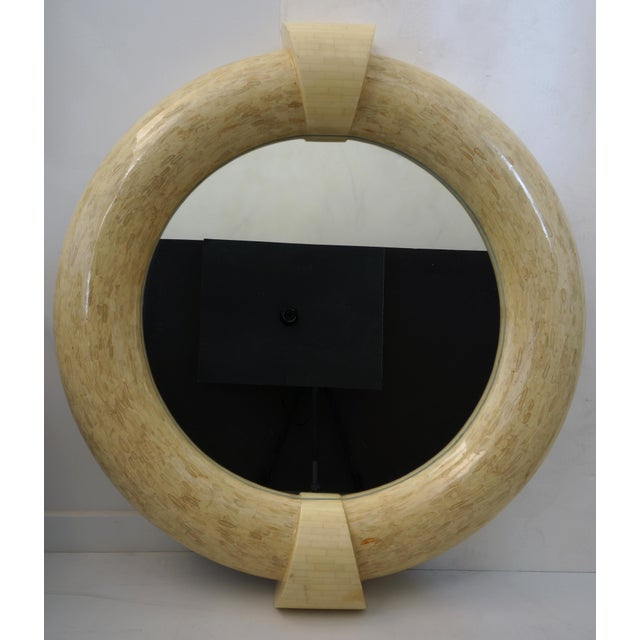 """Vintage Enrique Garcel Style Wall Mirror Tessellated Bone from a Palm Beach estate diameter of the inserted mirror is 27 3/4"""""""