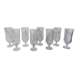 Shabby Chic Crystal Iced Tea Glasses - Set of 8 For Sale