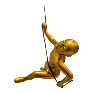 Gold Position Climbing Man Durable Polyresin 3d Hanging Wall Art Sculpture with Leathered Rope and Hanging Hardware by Eladitems For Sale