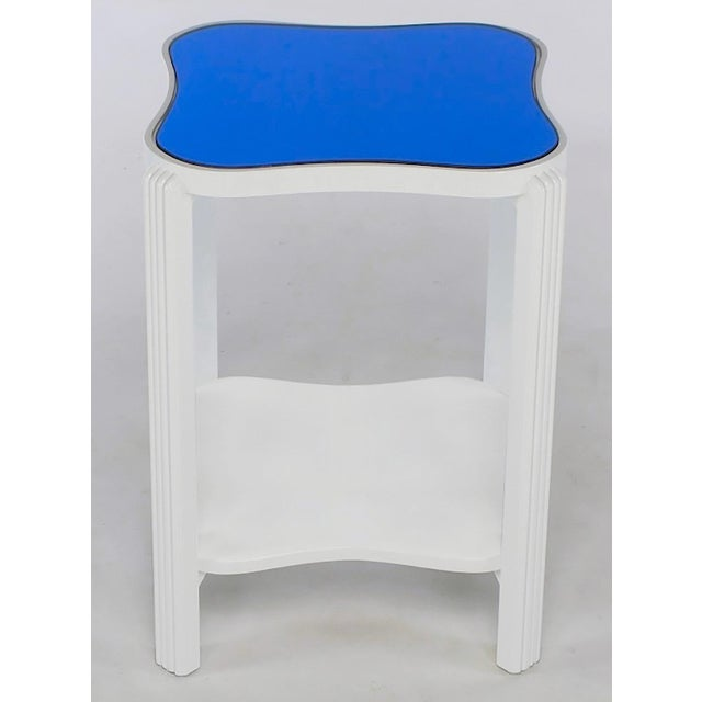 Art Deco Art Deco Two-Tier White Lacquer and Blue Mirror Side Table For Sale - Image 3 of 7