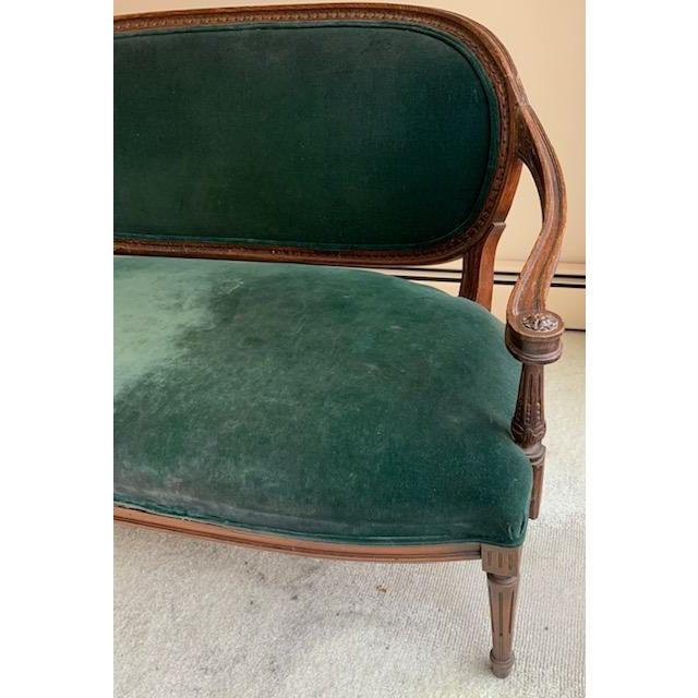 Fabric Antique French Green Velvet Love Seat For Sale - Image 7 of 9