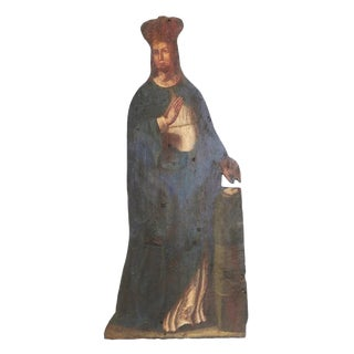 Mid 19th Century Painted Noble Saint on Board Painting For Sale