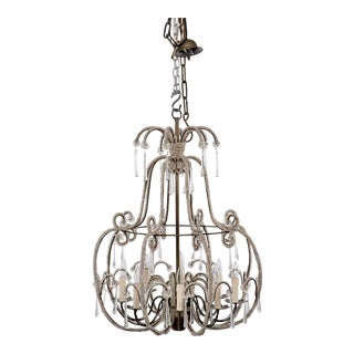 French All Beaded Eight-Light Chandelier For Sale
