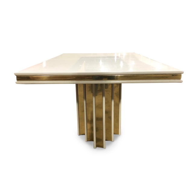 White 1970s Contemporary Roger Rougier Brass and Lacquered Dining Table For Sale - Image 8 of 8