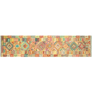 "Nalbandian - Contemporary Afghan Kilim Runner - 2'9"" X 12'7"" For Sale"