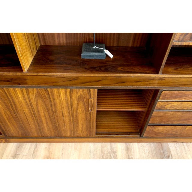 Danish MCM Rosewood 2 Piece Display/Credenza With Drop Leaf Bar For Sale - Image 12 of 13