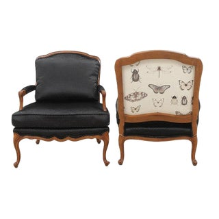Clarke & Clarke Botanica Upholstered Louis XV Style French Armchairs, a Pair For Sale
