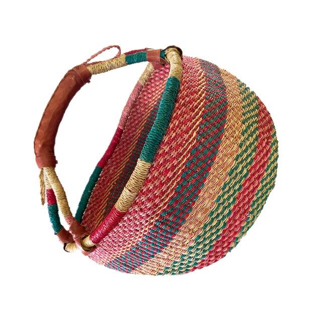 African Large African Bolga Ghana Market Basket For Sale - Image 3 of 6