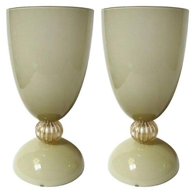 "Mustard and Gold Infused Murano glass urn or vase designed by Alberto Dona for Fabio Ltd, signed ""Alberto Dona' Murano"" on..."
