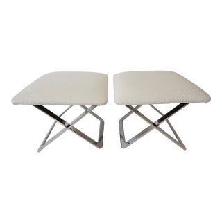 Vintage Milo Baughman Attributed X-Stools in Polished Steel and New White Upholstery - a Pair For Sale