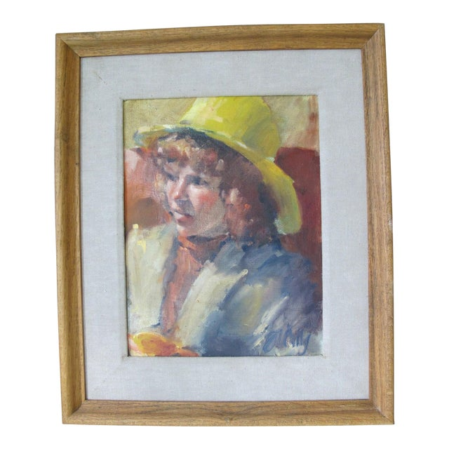 Vintage Portrait Oil Painting of Young Girl in Yellow Hat, Framed For Sale
