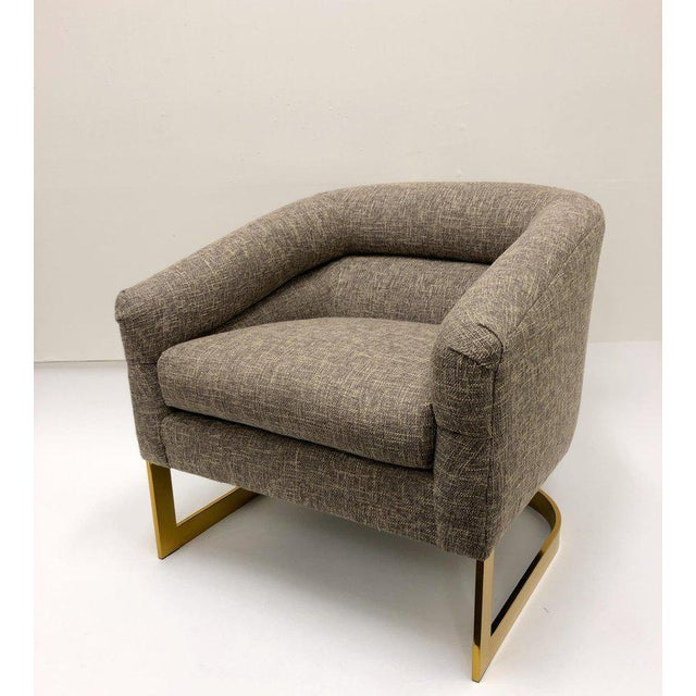 Gold Milo Baughman Brass and Fabric Lounge Chairs - a Pair For Sale - Image 8 of 9