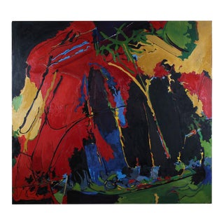 Jack Freeman Large San Francisco Abstract Expressionist Oil on Canvas, Circa 1968