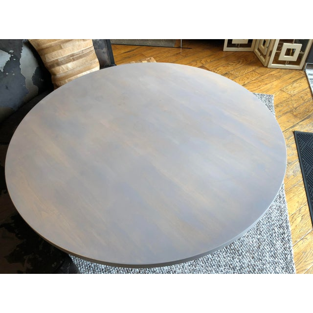 Blue Contemporary Round Pedestal Dining Table For Sale - Image 8 of 9