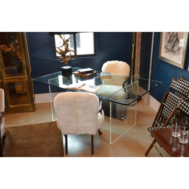 Mid-Century Modern Lucite, Glass and Steel Dining Table or Desk For Sale - Image 3 of 11