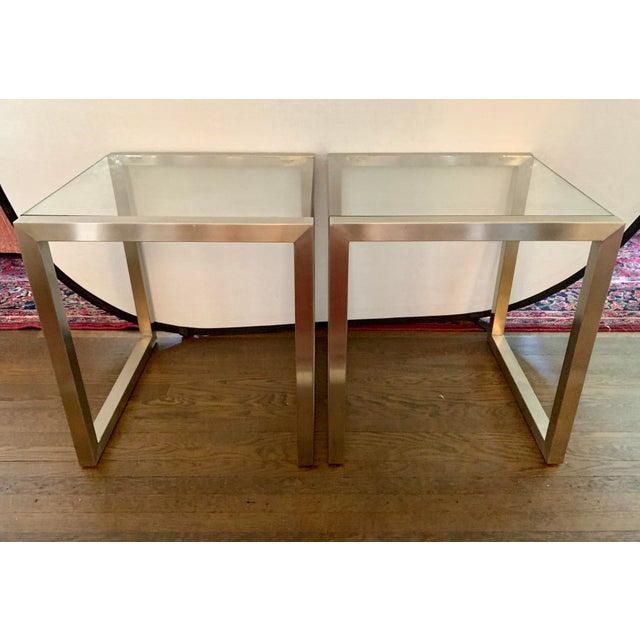 Ethan Allen Mid-Century Style Chrome and Glass End Table, Pair For Sale In New York - Image 6 of 6