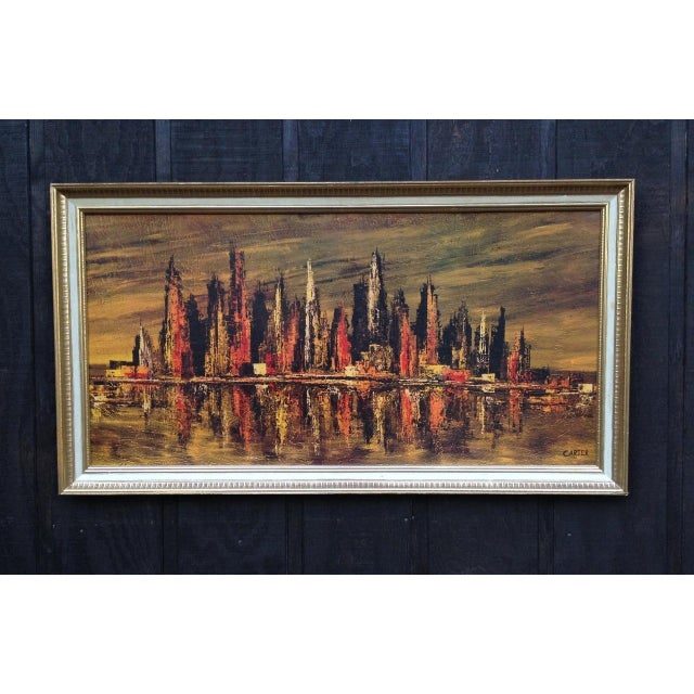 Mid Century Modern abstract cityscape print signed Carter. This large framed print would make a wonderful focal point to...