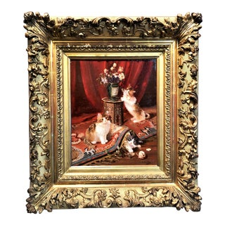 """Antique 19th Century Oil on Canvas Painting, """"Kittens at Play,"""" Signed E. Terretton. For Sale"""