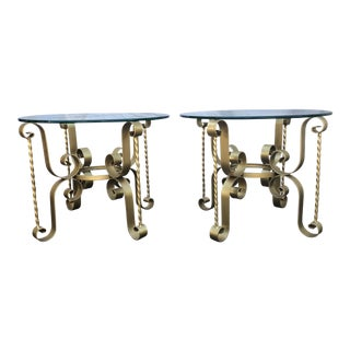 Antique Gold Hollywood Regency Metal Tables - A Pair For Sale