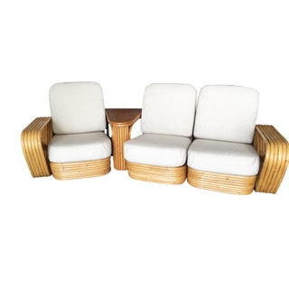 Restored 6 Six-Strand Square Pretzel 3 Seat Sectional Rattan Corner Sofa W/ Side Table For Sale