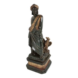 Vintage Metal Statue Roman Figure Julius Caesar With Eagle For Sale