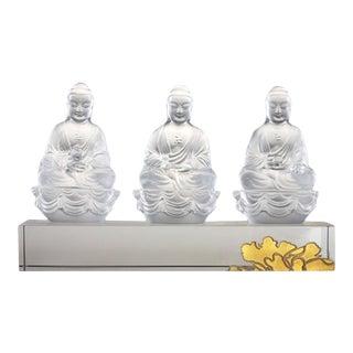 Liuli Crystal Art Crystal Buddha With 24k Gilded Gold: Amitabha, Shakyamuni, Medicine, Guardians of Peace Set of 3 (Powdered White) For Sale
