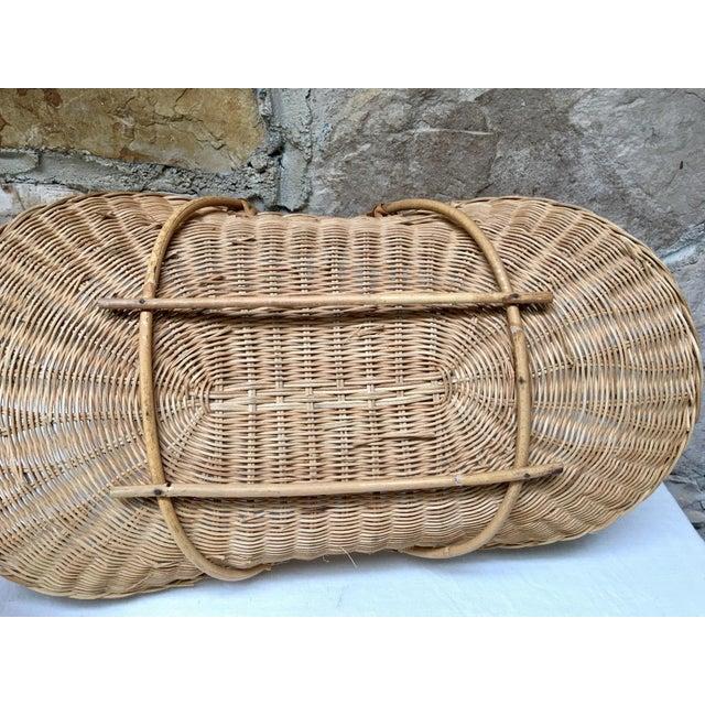 1970s Boho Chic Wicker Rattan Flower Gathering Basket For Sale - Image 6 of 8