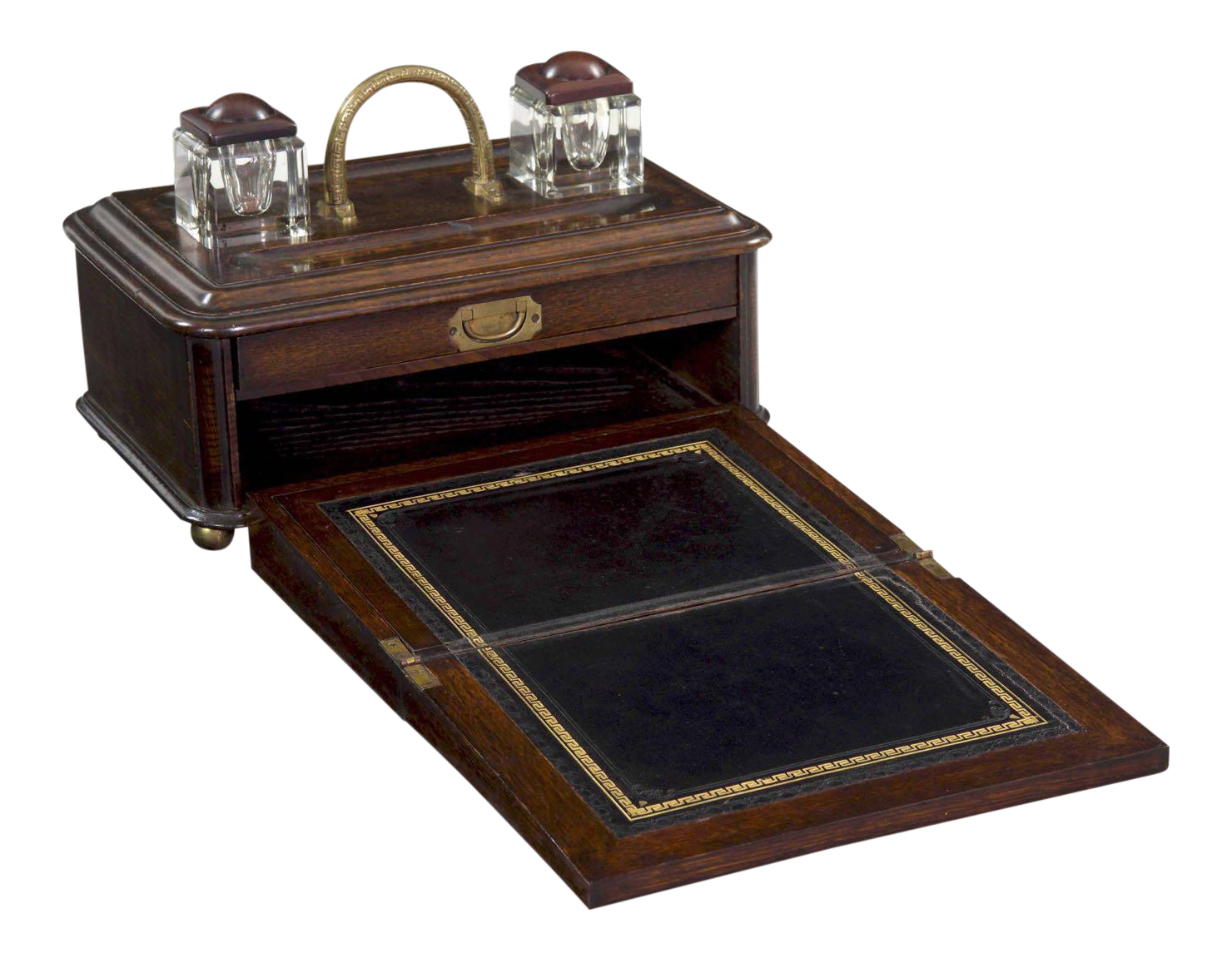 19th Century English Victorian Oak Traveling Antique Writing Box W/ Desk  Slope