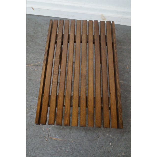 Mid-Century Modern Slat Tables / Benches - Pair - Image 7 of 10
