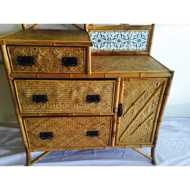 Late Victorian Bamboo Chest-of-Drawers - Image 4 of 5