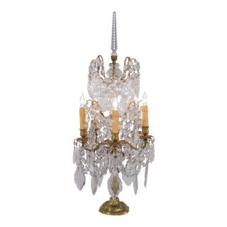 Early 20th Century French Crystal Six Light Girandole For Sale