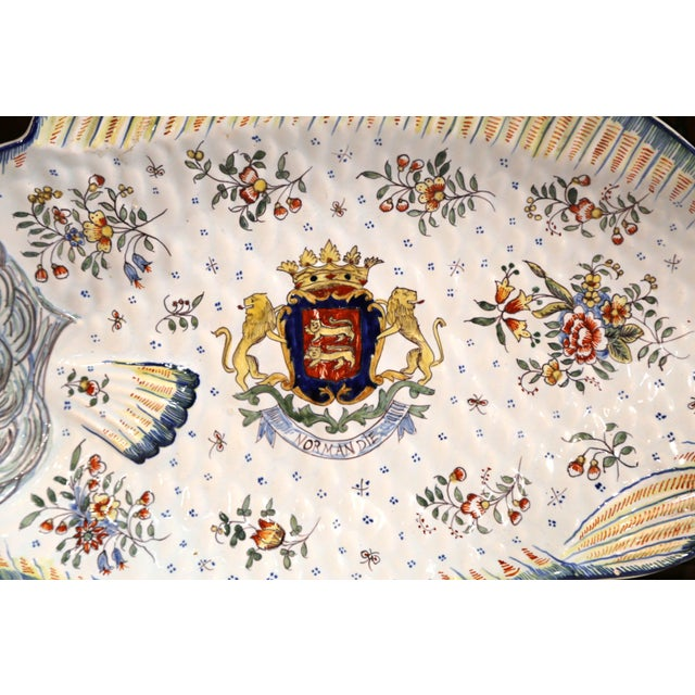 Early 20th Century French Hand-Painted Faience Fish Platter From Normandy For Sale - Image 4 of 10