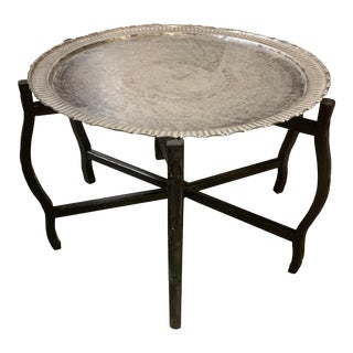 Antique Moroccan/Ottoman Silver on Copper Folding Tray Table For Sale