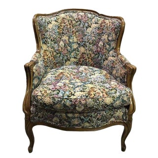 Vintage French Floral Tapestry Bergere Walnut Armchair For Sale